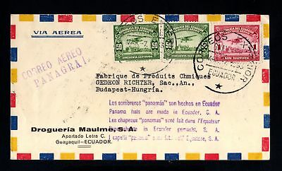 16865-ECUADOR-AIRMAIL COVER GUAYAQUIL to BUDAPEST (hungary) 1933.WWII.Panagra.