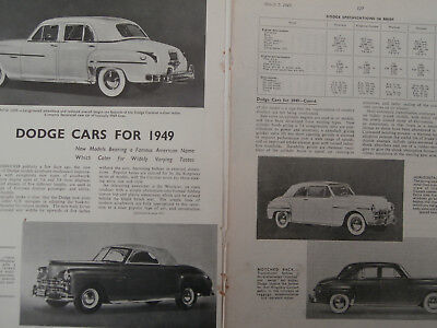 Dodge cars.1949 new model announced.