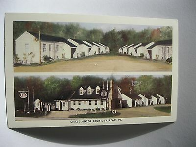 1950 divided color postcard featuring the CIRCLE MOTOR COURT in Fairfax Virginia