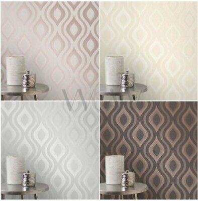 Fine Decor Quartz Geometric Wallpaper Rose Gold Silver Gold Pewter New