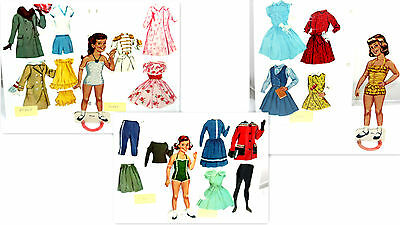 3 Vintage Paper Dolls Girl Sue Penny Jean Girls  Clothes & Accessories