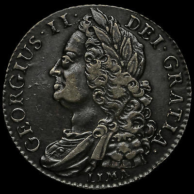 1745 George II Early Milled Silver Lima Shilling, GVF / AEF