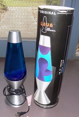 "Used 16.3"" Large Blue & Silver Lava Lamp Works"