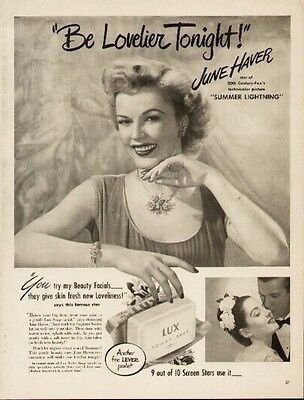 June Haver Hollywood Movie Star 2 1947 ads for Lux and Lipton Tea