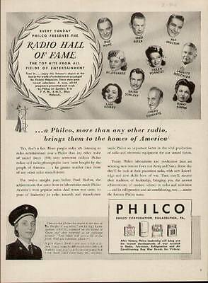 1944 Philco Radio ad showing 10 big Radio Stars of the time