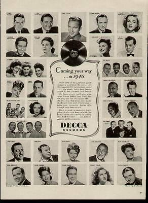 31 Recording Artists on this 1946 ad for Decca Records (Garland, Dorsey, Durbin)