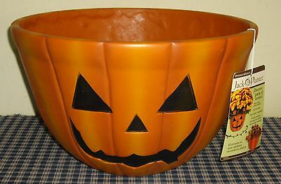 2010 Dynamic Designs Huge Jack-O-Lantern Pumpkin 2 Sided Flower Pot New Tags
