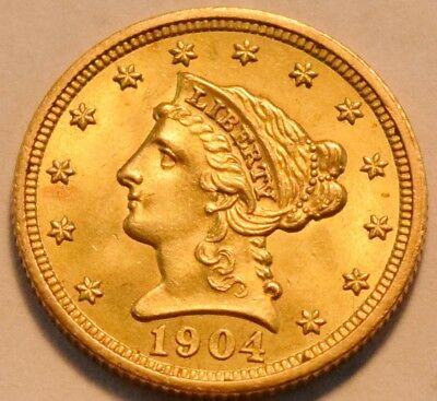1904 $2.50 Gold Liberty Quarter Eagle High Grade AU/Unc 2 and 1/2 Nice Look Coin