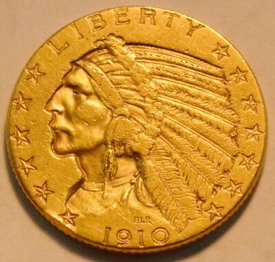 1910 $5 Gold Indian Half Eagle, Higher Grade Five Dollar, Nice Looking Type Coin