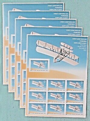 50 (5 x 10) FIRST CONTROLLED POWERED AIRPLANE FLIGHT 37 ¢ Postage Stamps # 3783