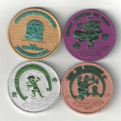 4 Vintage Dual Colored St. Patricks Pats Sons Of Erin Good Luck Coin Token Lot