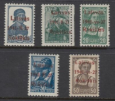 LITHUANIA German Occupation 1941 ROKISKIS  locals, 5 values, Mint Never Hinged