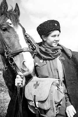 WW2  Photo WWII Female Medic & Horse Red Army Cavalry World War Two Russia/ 1631