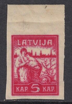 LATVIA 1919 5k LIBERATION, strong offset on the back, Mint Hinged