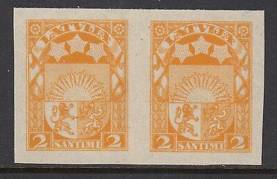 LATVIA 1923 2s ARMS, imperforate plate proof pair