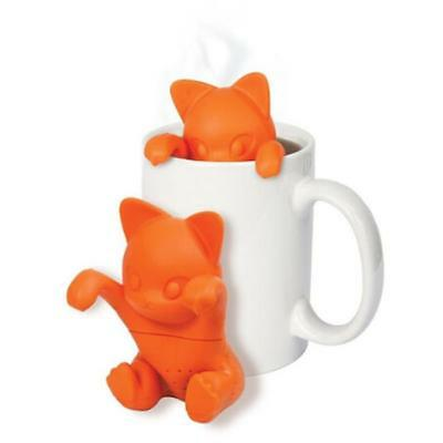 Cute Orange Cat Silicone Tea Infuser Loose Leaf Strainer Herbal Spice Filter S