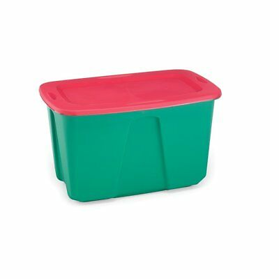 Homz Holiday Plastic Storage Tote Box, 32 Gallon, Greed With Red Lid, Stackable,