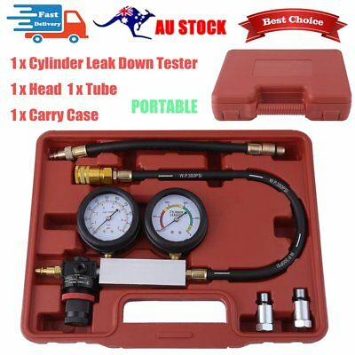 Cylinder Leak Tester Petrol Engine Compression Leakage Leakdown Double Gauge SD
