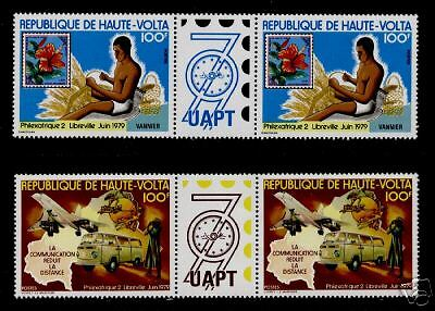 Upper Volta 496-7 Gutter Pairs MNH, Aircraft, UPU, Map, Stamp on Stamp