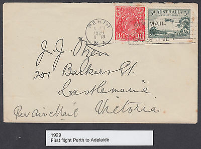 1929 Australia, Perth to Adelaide Airmail First Flight FFC; Mixed Franking