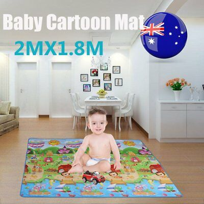 2mx1.8m XXL Nontoxic Baby Kids Play Mat Floor Rug Picnic Cushion Crawling Mat VC