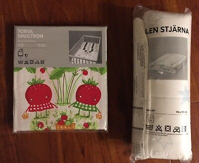 Ikea Torva Smultron Cotton Baby Cot Duvet Cover & Pillow Case Strawberry Crib