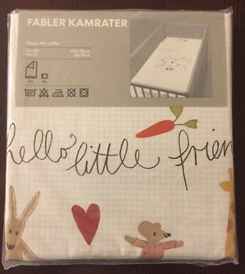 "NEW IKEA Fabler Kamrater 43x49"" Crib Duvet Quilt Cover & Pillowcase Discontinued"