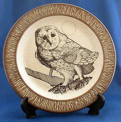 """Purbeck Poole Pottery Owl 8.5"""" Plate Bournemouth"""
