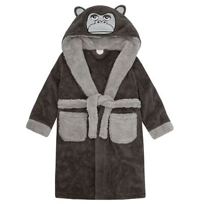 4Kidz Boys Snuggle Soft Gorilla Hooded Dressing Gown Robe Grey