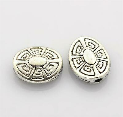 TOP QUALITY 20 TIBETAN SILVER OVAL SPACER BEADS 11mm AZTEC PATTERN ( TS29 )