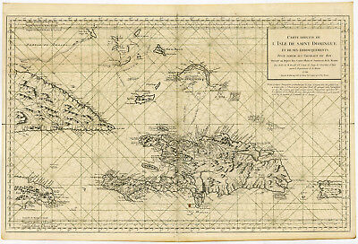 Rare Antique Print-SANTA DOMINGO-HAITI-CUBA-CARRIBEAN-SEACHART-Bellin-1750
