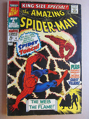 AMAZING SPIDER-MAN ANNUAL #  4  US MARVEL 1967 vs Human Torch 42pg    VG+