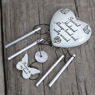David Fischhoff Grave Memorial Heart Wind Chime Ornament Special Husband 038
