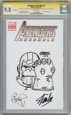 AVENGERS ASSEMBLE #1 CGC 9.8 SIGNATURE SERIES SIGNED x3 STAN LEE THANOS SKETCH