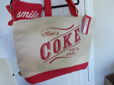 Large Canvas Coca Cola Tote Bag With Wristlet New With Tags