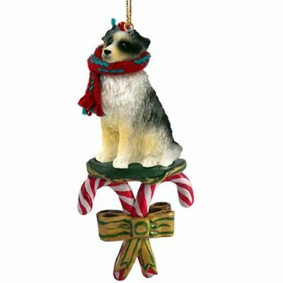 Australian Shepherd Blue Dog Candy Cane Christmas Tree ORNAMENT
