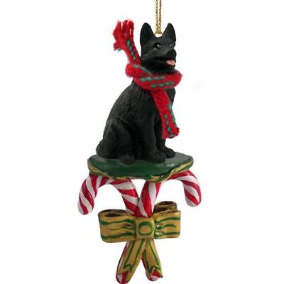 German Shepherd Black Dog Candy Cane Christmas Tree ORNAMENT