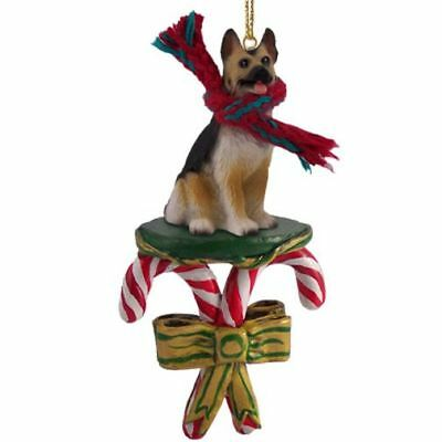 German Shepherd Tan Black Dog Candy Cane Christmas Tree ORNAMENT