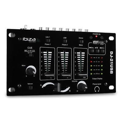 Top Ibiza Dj-21  2/3 Kanal Pa Rack Mixer Mit Mikro In Für Moderationsfunktion
