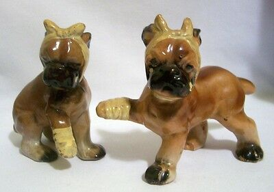 2 Vintage Porcelain Bandaged Crying Boxer Puppy Dog Figurines