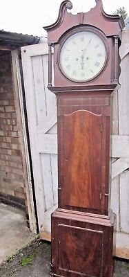 Antique 8 Day Hill Sheffield Round Dial Grandfather Longcase  Clock For Repair