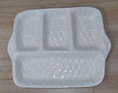 Vintage California Pottery White Wicker Pattern Divided Serving Dish 296 W