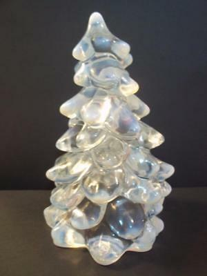 """Mosser Glass CRYSTAL FRENCH OPALECENT LARGE 8"""" CHRISTMAS TREE Figurine"""