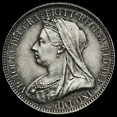 1893 Queen Victoria Veiled Head Silver Sixpence, A/UNC