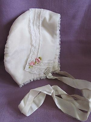 Vtg Baby Bonnet Doll Hat Ivory Silk & Lace & Pink Roses w/ Satin Ribbon Ties