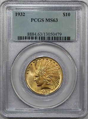1932 $10 Indian Head Gold Eagle Coin Certified Pcgs Ms 63 - Nice!