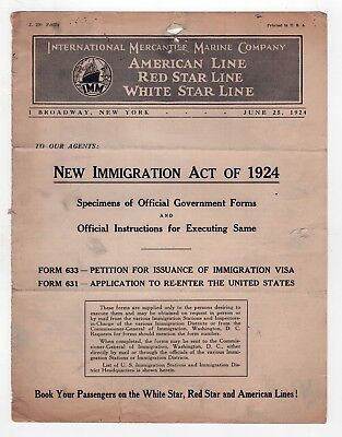 1924 IMM AMERICAN Red Star WHITE STAR LINE Immigration Act Bulletin MARINE Liner