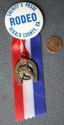 1960s Dekalb County,Georgia Rodeo Sheriff's Posse pin & lucky horseshoe hanger!