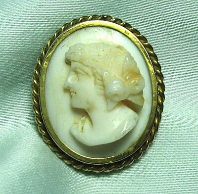 """VICTORIAN Gold Plate & Real Shell Cameo Pin 1"""""""