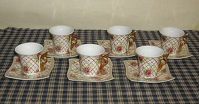 Jay & Sons Demitasse Cup & Saucer Dainty Pink Roses Wing Handles 6 sets UNIQUE